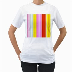 Multi Colored Bright Stripes Striped Background Wallpaper Women s T Shirt (white) (two Sided)