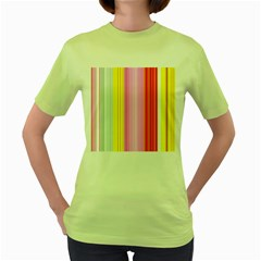 Multi Colored Bright Stripes Striped Background Wallpaper Women s Green T Shirt