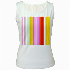 Multi Colored Bright Stripes Striped Background Wallpaper Women s White Tank Top