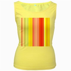 Multi Colored Bright Stripes Striped Background Wallpaper Women s Yellow Tank Top