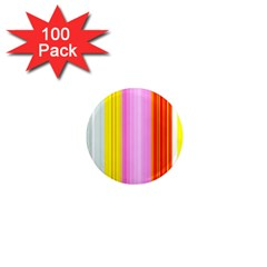 Multi Colored Bright Stripes Striped Background Wallpaper 1  Mini Magnets (100 Pack)