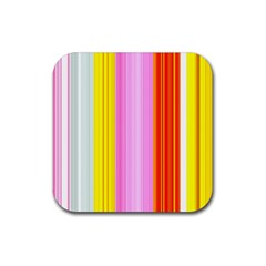 Multi Colored Bright Stripes Striped Background Wallpaper Rubber Square Coaster (4 Pack)