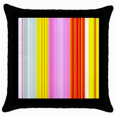 Multi Colored Bright Stripes Striped Background Wallpaper Throw Pillow Case (black)