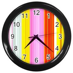 Multi Colored Bright Stripes Striped Background Wallpaper Wall Clocks (Black)