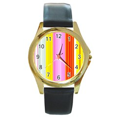 Multi Colored Bright Stripes Striped Background Wallpaper Round Gold Metal Watch