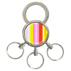 Multi Colored Bright Stripes Striped Background Wallpaper 3-Ring Key Chains