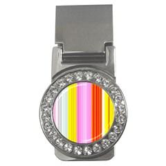 Multi Colored Bright Stripes Striped Background Wallpaper Money Clips (cz)