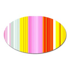 Multi Colored Bright Stripes Striped Background Wallpaper Oval Magnet