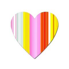 Multi Colored Bright Stripes Striped Background Wallpaper Heart Magnet