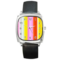 Multi Colored Bright Stripes Striped Background Wallpaper Square Metal Watch