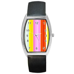Multi Colored Bright Stripes Striped Background Wallpaper Barrel Style Metal Watch
