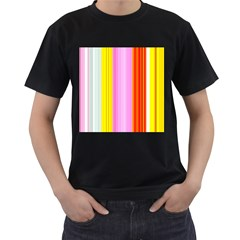 Multi Colored Bright Stripes Striped Background Wallpaper Men s T Shirt (black) (two Sided)