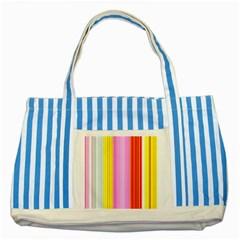 Multi Colored Bright Stripes Striped Background Wallpaper Striped Blue Tote Bag