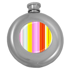Multi Colored Bright Stripes Striped Background Wallpaper Round Hip Flask (5 Oz)