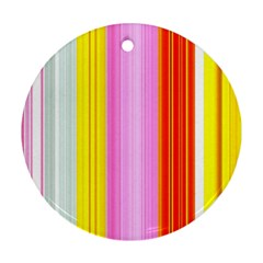Multi Colored Bright Stripes Striped Background Wallpaper Round Ornament (two Sides)