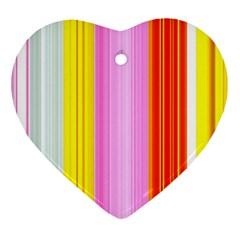 Multi Colored Bright Stripes Striped Background Wallpaper Heart Ornament (two Sides)
