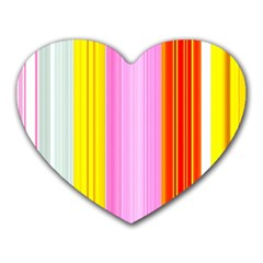Multi Colored Bright Stripes Striped Background Wallpaper Heart Mousepads