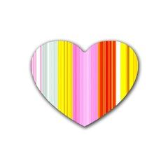 Multi Colored Bright Stripes Striped Background Wallpaper Heart Coaster (4 Pack)