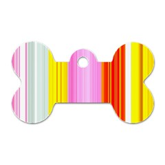 Multi Colored Bright Stripes Striped Background Wallpaper Dog Tag Bone (two Sides)