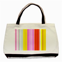 Multi Colored Bright Stripes Striped Background Wallpaper Basic Tote Bag (two Sides)