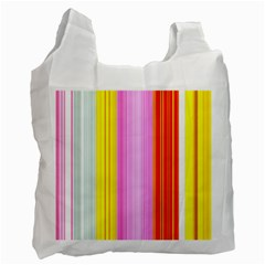 Multi Colored Bright Stripes Striped Background Wallpaper Recycle Bag (one Side)