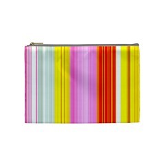 Multi Colored Bright Stripes Striped Background Wallpaper Cosmetic Bag (medium)