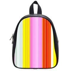 Multi Colored Bright Stripes Striped Background Wallpaper School Bags (small)