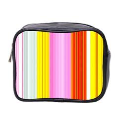 Multi Colored Bright Stripes Striped Background Wallpaper Mini Toiletries Bag 2 Side