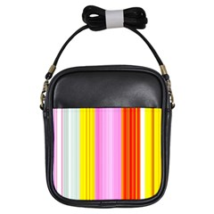 Multi Colored Bright Stripes Striped Background Wallpaper Girls Sling Bags