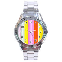 Multi Colored Bright Stripes Striped Background Wallpaper Stainless Steel Analogue Watch