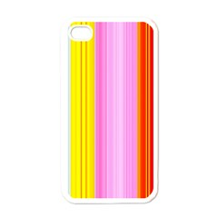 Multi Colored Bright Stripes Striped Background Wallpaper Apple iPhone 4 Case (White)