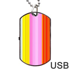 Multi Colored Bright Stripes Striped Background Wallpaper Dog Tag Usb Flash (one Side)