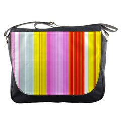 Multi Colored Bright Stripes Striped Background Wallpaper Messenger Bags