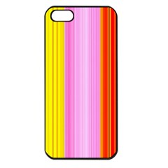 Multi Colored Bright Stripes Striped Background Wallpaper Apple iPhone 5 Seamless Case (Black)