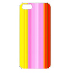 Multi Colored Bright Stripes Striped Background Wallpaper Apple iPhone 5 Seamless Case (White)