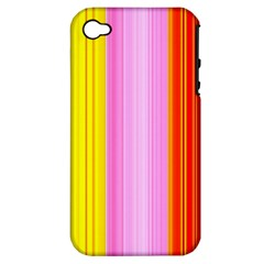 Multi Colored Bright Stripes Striped Background Wallpaper Apple Iphone 4/4s Hardshell Case (pc+silicone)
