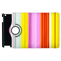 Multi Colored Bright Stripes Striped Background Wallpaper Apple Ipad 2 Flip 360 Case