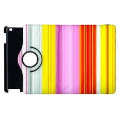 Multi Colored Bright Stripes Striped Background Wallpaper Apple iPad 3/4 Flip 360 Case
