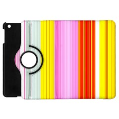 Multi Colored Bright Stripes Striped Background Wallpaper Apple Ipad Mini Flip 360 Case