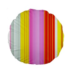 Multi Colored Bright Stripes Striped Background Wallpaper Standard 15  Premium Round Cushions