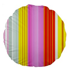 Multi Colored Bright Stripes Striped Background Wallpaper Large 18  Premium Round Cushions