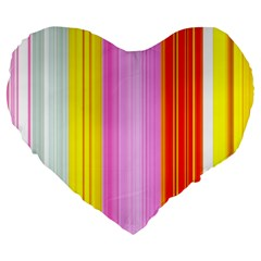 Multi Colored Bright Stripes Striped Background Wallpaper Large 19  Premium Heart Shape Cushions