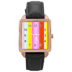 Multi Colored Bright Stripes Striped Background Wallpaper Rose Gold Leather Watch