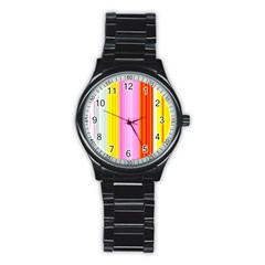 Multi Colored Bright Stripes Striped Background Wallpaper Stainless Steel Round Watch