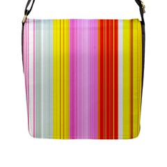 Multi Colored Bright Stripes Striped Background Wallpaper Flap Messenger Bag (l)
