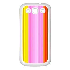 Multi Colored Bright Stripes Striped Background Wallpaper Samsung Galaxy S3 Back Case (white)