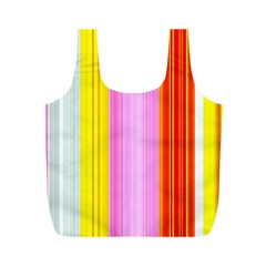 Multi Colored Bright Stripes Striped Background Wallpaper Full Print Recycle Bags (M)