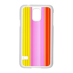 Multi Colored Bright Stripes Striped Background Wallpaper Samsung Galaxy S5 Case (White)