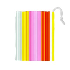 Multi Colored Bright Stripes Striped Background Wallpaper Drawstring Pouches (large)