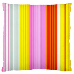 Multi Colored Bright Stripes Striped Background Wallpaper Large Flano Cushion Case (Two Sides)